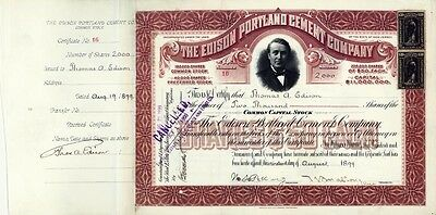 Thomas A. Edison - Stock Certificate Signed And Endorsed With Co-Signers
