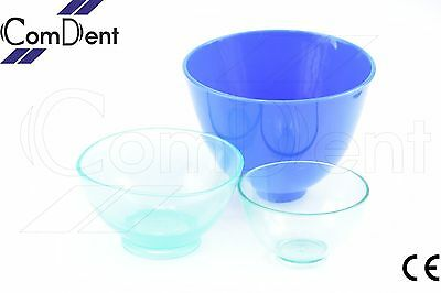 Set of 3 Dental Lab Flexible Alginate Mixing Bowl Small Medium Large New