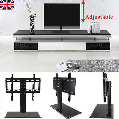 Universal Black Glass TV Stand with Bracket for LED LCD Plasma 26 - 32 inches