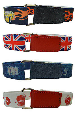 Kids Belts/Childrens Boys/Girls Printed Hook & Loop Elasticated  Belts 1-6 Yrs