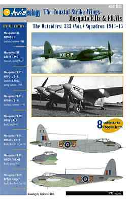 Outrider Mosquito F.II & FB.IVs - 333 Sqn – 1/72 scale Aviaeology Decals 'n Docs