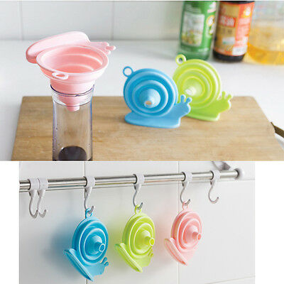 Collapsible Foldable Silicone Telescopic Colander Snail Funnel Oil Hopper Tools