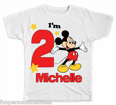 Personalized Big Number Disney Mickey Mouse Birthday T-Shirt
