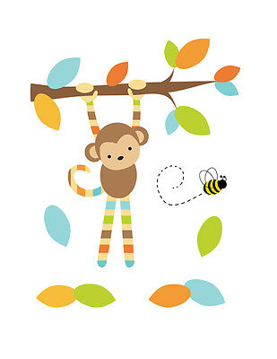 Safari Nursery Decals Hanging Monkey Boy Wall Art Mural Jungle Animal Stickers