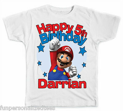 Personalized Super Mario Brothers Birthday T-Shirt