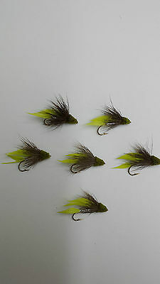 "LOT of 6 FLIES "" MUDDLER "" size #2 WET   ""CHATREUSE ""    Free Shipping"