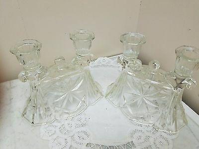 Pair of Vintage Crystal Double Candlesticks
