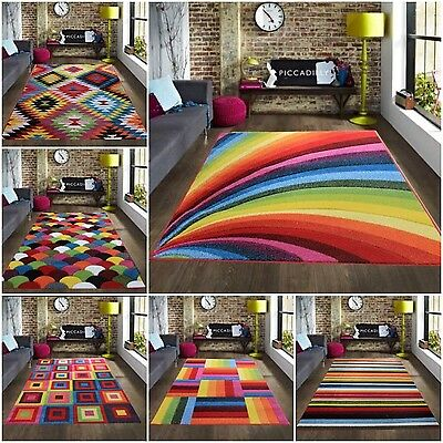 Large Modern Colourful Vibrant Bright Soft Rug Rugs Cheap Good Quality Carpets