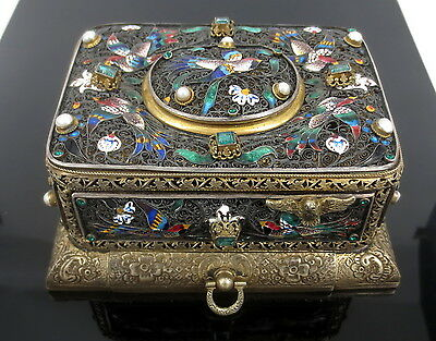 Antique French Emerald & Natural Pearl Enamel & Silver Musical Singing Bird Box