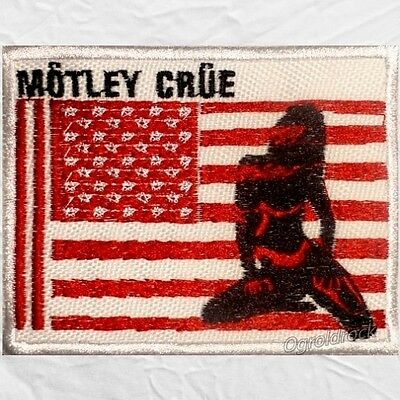 Motley Crue Red, White & Crue Logo Embroidered Patch Nikki Sixx USA Flag Girl