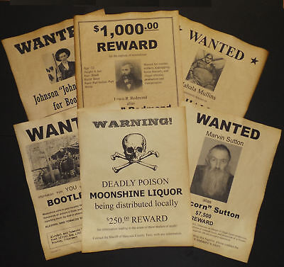 Set of 6 Moonshine Wanted Posters Popcorn Sutton, Big Haley, Hatfield, more