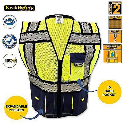 High Vis Reflective Safety Vest Fishbone Blue Mesh High Visibility Vest Small