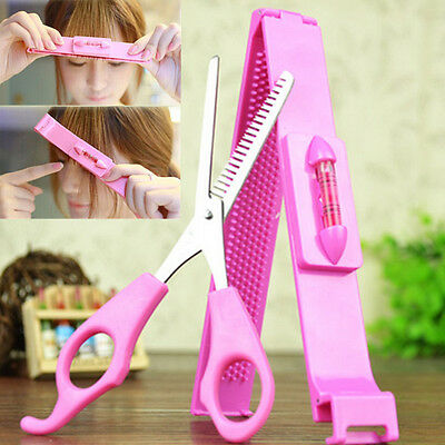 2Pcs Salon Bangs Scissors DIY Hair Styling Tool Hair Cutting Scissors With Ruler