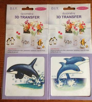 DIY Decorative 3D Transfers - Dolphins - For Tiles, Glass, Cups, Ceramic & Mugs