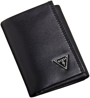 Guess Men's Leather Credit Card Organizer Wallet Trifold Black 0965