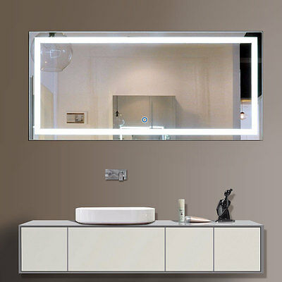 LED Bathroom Wall Mirror Illuminated Lighted Vanity Mirror with Touch Button. HOMCOM LED Light Wall Mirror Cabinet Lighted Vanity Bathroom