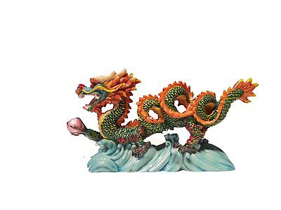 "NEW COLOR Chinese Feng Shui Dragon Figurine Statue for Luck & Success 6"" LONG"