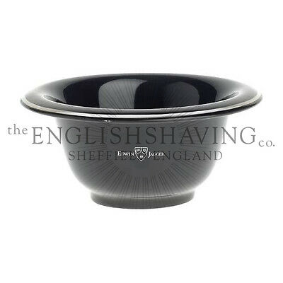 Edwin Jagger Porcelain Black Shaving Bowl (Chrome Rim) [NEW, BOXED]