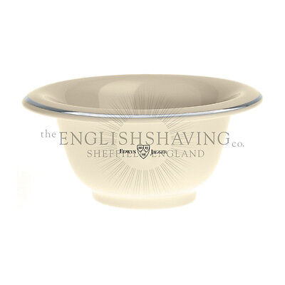 Edwin Jagger Porcelain IVORY Coloured Shaving Bowl (Chrome Rim) [NEW, BOXED]