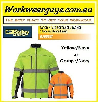 BISLEY WORKWEAR -  Hi Vis 2 Tone Soft Shell Jacket with Reflect Tape - Winter