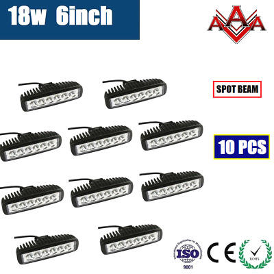 10x 6inch 18W LED WORK DRIVING LIGHT BAR OFFROAD BOAT TRUCK 12V 24V AUTO LAMP