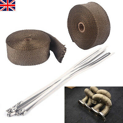 "New 2"" 10m Titanium High Temp Exhaust Magma Heat Wrap + 10pcs 30CM Cable Ties"