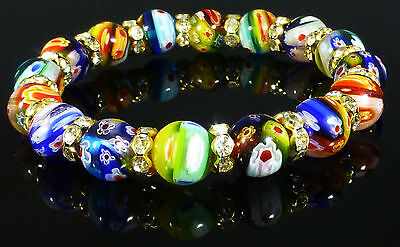 Murano Glass Millefiori Bracelet Rainbow Costume Jewellery