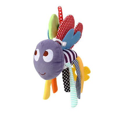 Baby Bee Plush Toy Teether Colorful Stroller Crib Bed Hanging Ring Bell Rattle