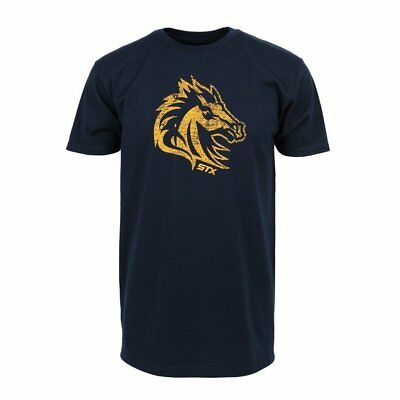 STX Stallion Navy Blue and Orange Lacrosse T-Shirt Small-XL