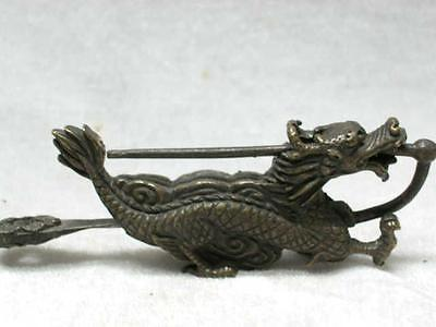 Size: 4 x 2 inch/China's rare old brass sculpture can use Long Suo and keys