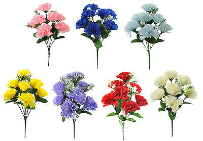 ARTIFICIAL SILK FLOWERS CARNATION BUNCH 7 COLOURS Wedding Home Grave Outdoor