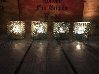 S/6 Lux Vintage Antique Glass Wedding Home Ornament Tealight Candle Holders 7cm