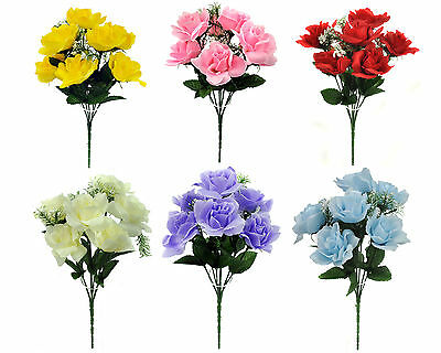 ARTIFICIAL SILK FLOWERS OPEN ROSE BUNCH 6 COLOURS Wedding Home Grave Outdoor