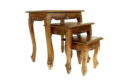Indonesian Carved Nest of 3 Tables Teak Space Saving