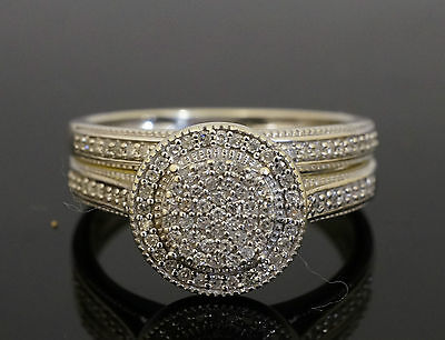 9Ct White Gold Bridal Set Diamond Cluster & Eternity Rings Size M 1/2