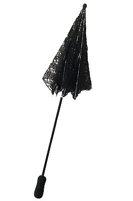 Brand New Victorian Lace Parasol Umbrella Costume Accessory (Black)