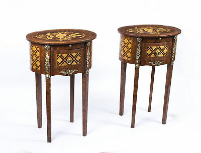 Stunning Pair Parquetry Side Tables Bedside Cabinets