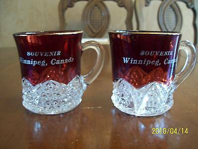 1897 Duncan & Miller Glass Ruby Stained Souvenir Mugs