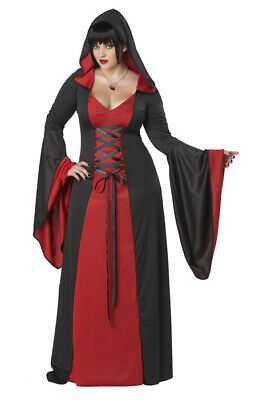 Brand New Plus Size Red Gothic Hooded Robe Women Costume Vampire