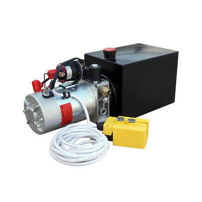 8 Quart 12V Volt Hydraulic Pump Power Unit Supply 3200 PSI W/ Controller Lift