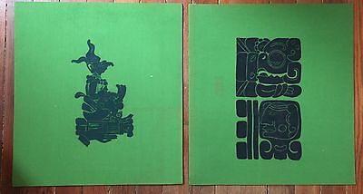 Pair Of Vintage Mexican Temple Rubbing Maya Mayan Signed Modernist Figure