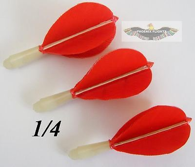 1/4 Inch Thread Short Red Hand Made Feather Flights