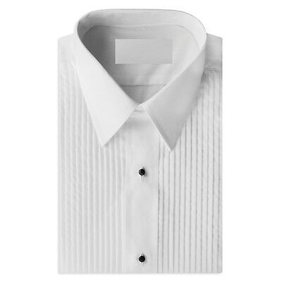"NEW Mens White Regular fit Lay Down Spread Collar 1/4 "" Pleated Tuxedo Shirt"