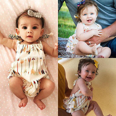 Newborn Toddler Infant Baby Girl Floral Romper Bodysuit Backless Outfit Clothes