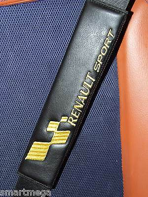 Seat Belt Harness Pads for Renault Sport  , Black PU Leather , Set of 2