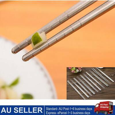 10Pair  Stainless Steel Chopsticks Tableware Kitchen CutleryKorean Non-slip