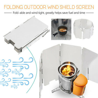 9/10 Plates Fold Outdoor Camping Stove Wind Shield Screen BBQ Cookout Windbreak