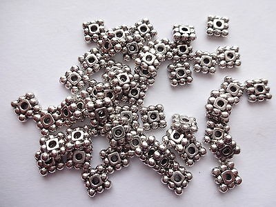 50 /100/250/ 500  Tibetan Silver Flat Square Daisy Spacer Beads 5mm x 5mm