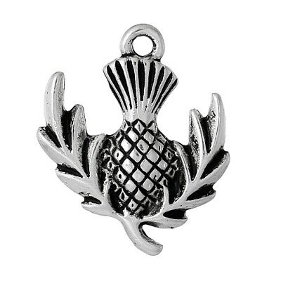Packet of 5 x Antique Silver Tibetan 24mm Charms Pendants (Thistle) ZX06945
