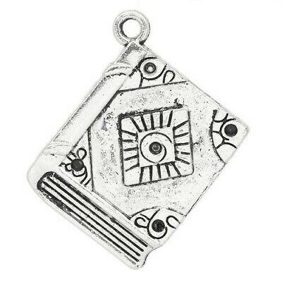 Packet of 5 x Antique Silver Tibetan 26mm Charms Pendants (Book) ZX05380